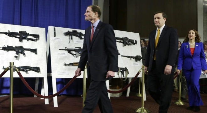 Democratic Sens. Richard Blumenthal, Chris Murphy, and Rep. Elizabeth Esty introduce legislation on assault weapons and high-capacity ammunition feeding devices in 2013. (Photo: Manuel Balce Ceneta/AP)