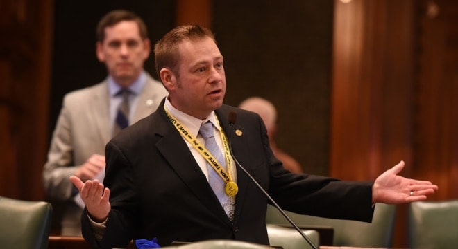 "Illinois state Representative Allen Skillicorn argued HB 4117 ""would have turned law-abiding citizens into felons had it not failed in the House today."" (Photo: Rep Skillcorn)"
