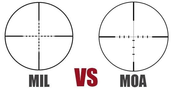The Bushnell Elite MIL Scope, left, and Vortex Viper MOA scope, right, illustrate a difference between MIL and MOA. (Photo: Newegg, Graphic: Jacki Billings)