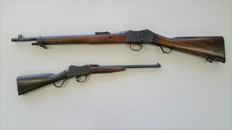 """The """"Martini Enfield Cavalry Carbine fills a gap in our Martini collection. Below it is a Martini Cadet that has been re-barreled to .22 and modified by a Sydney gunsmith as a birthday gift for an 8-year-old boy who kept it all his life."""" (Photo/caption: LSAFM)"""