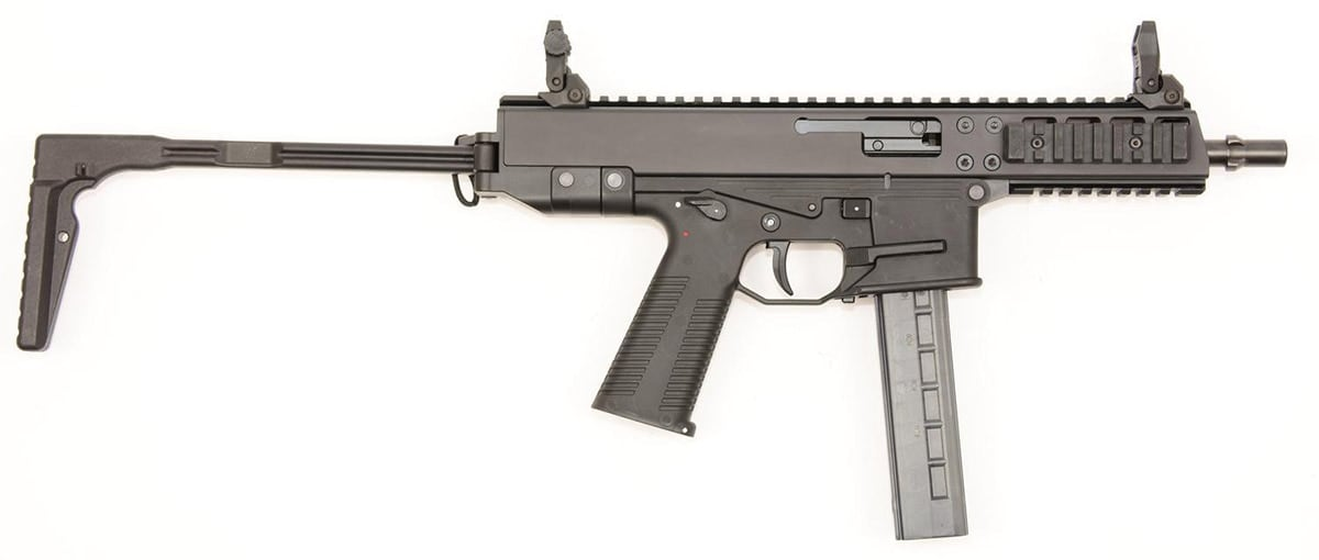 The GHM9 carbine, pictured with a folding stock, ships as a pistol with the stock available separately. (Photo: B&T USA)
