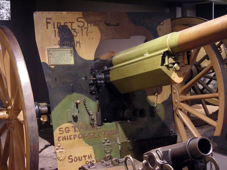 """The gun was sent back to the states in 1918 and is at West Point today, still with the names of the """"First Shot"""" crew who fired it 100 years ago this week"""