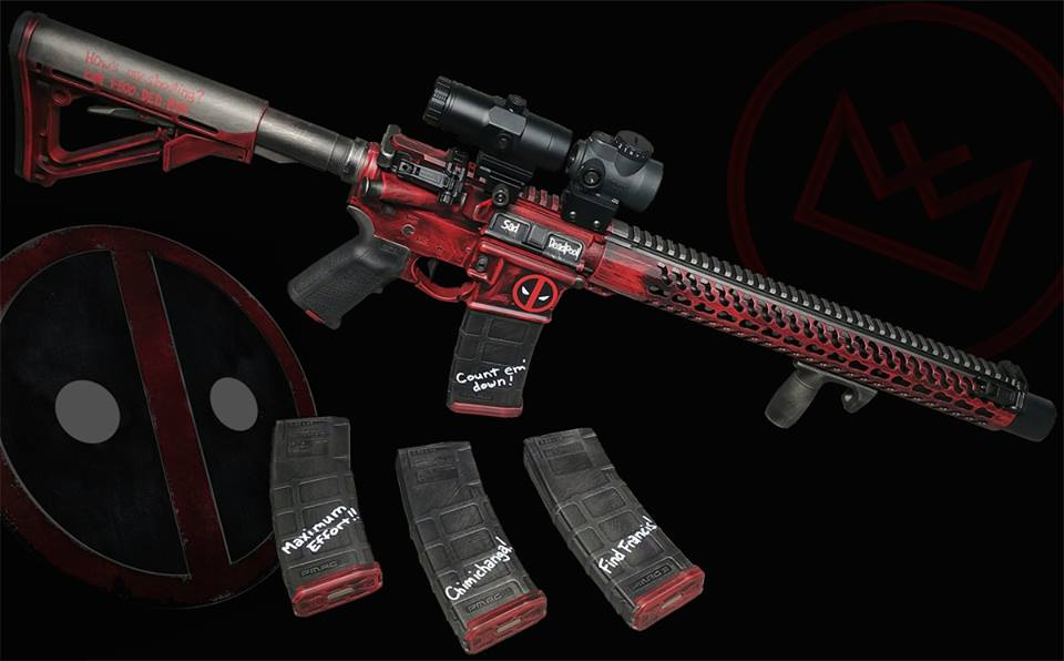 Their Deadpool project AR has a Gemtech Patrol suppressor gun comes complete with a Trijicon MRO and Vortex Magnifier with Magpul MBUS Pro irons as a back-up for those sticky situations (Photos: WTF)