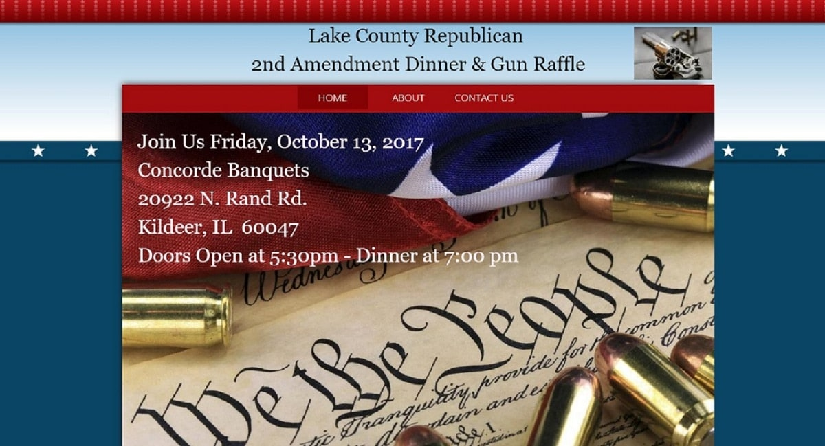 Promotional website for the Lake County Republicans 2nd Amendment Dinner and Gun Raffle. (Photo: LRC)