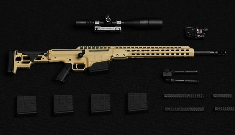 Each replica comes with a lilliputian bipod, several magazines, rail systems, optic and a tiny PEQ.