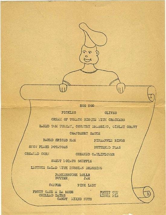 1944 Thanksgiving Dinner menu, Amphibious Training Center - Tulagi, Solomon Islands - November 1944 (Photo: U.S. Navy)