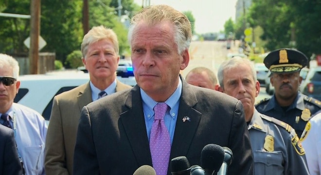 Virginia Gov. Terry McAuliffe (D), seen here at a press conference, has authorised emergency regulations at a Richmond monument that ban guns and other weapons from events. (Photo: AP)