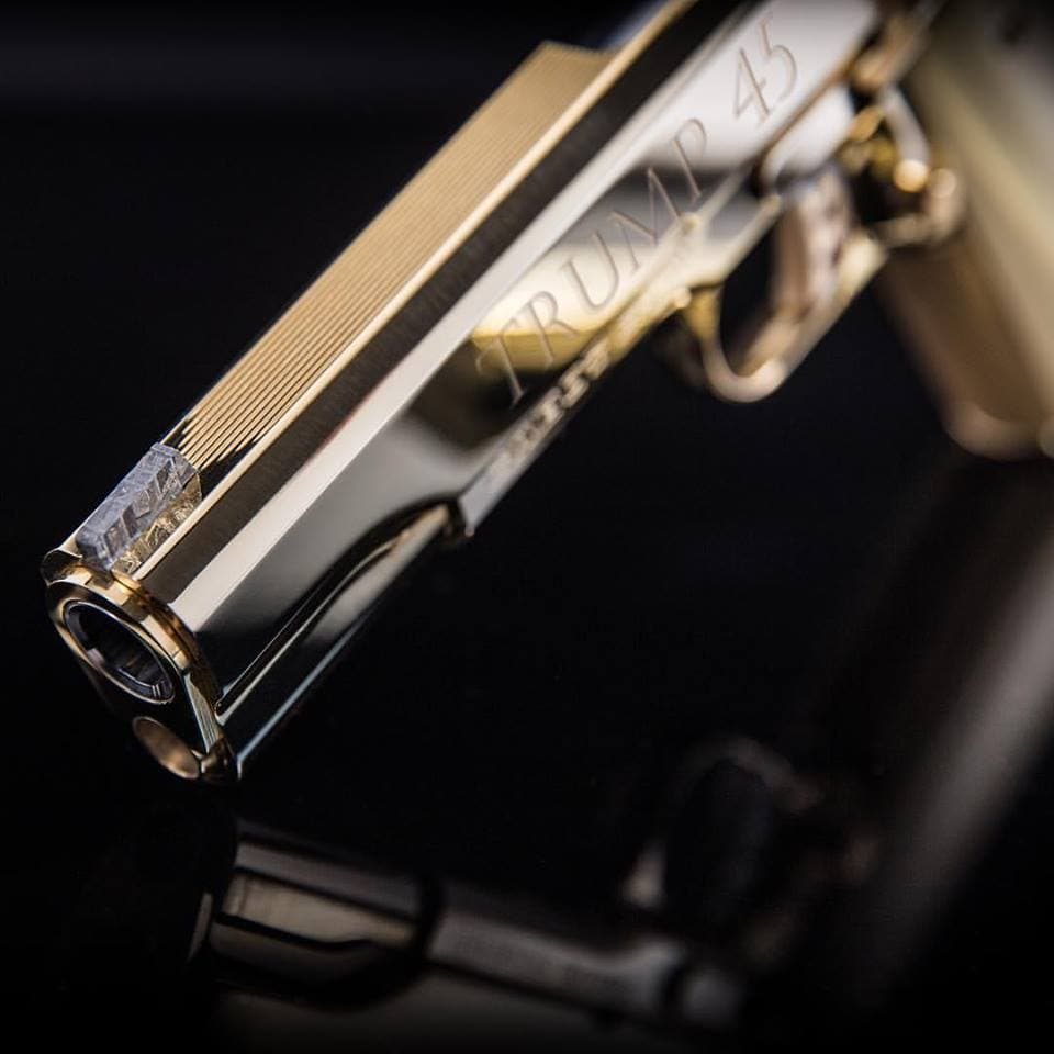 """""""Symbolizing the meteoric focus of the Trump Presidency and commitment to America,"""" the trigger and front sight are crafted from a 4-billion-year-old meteorite."""