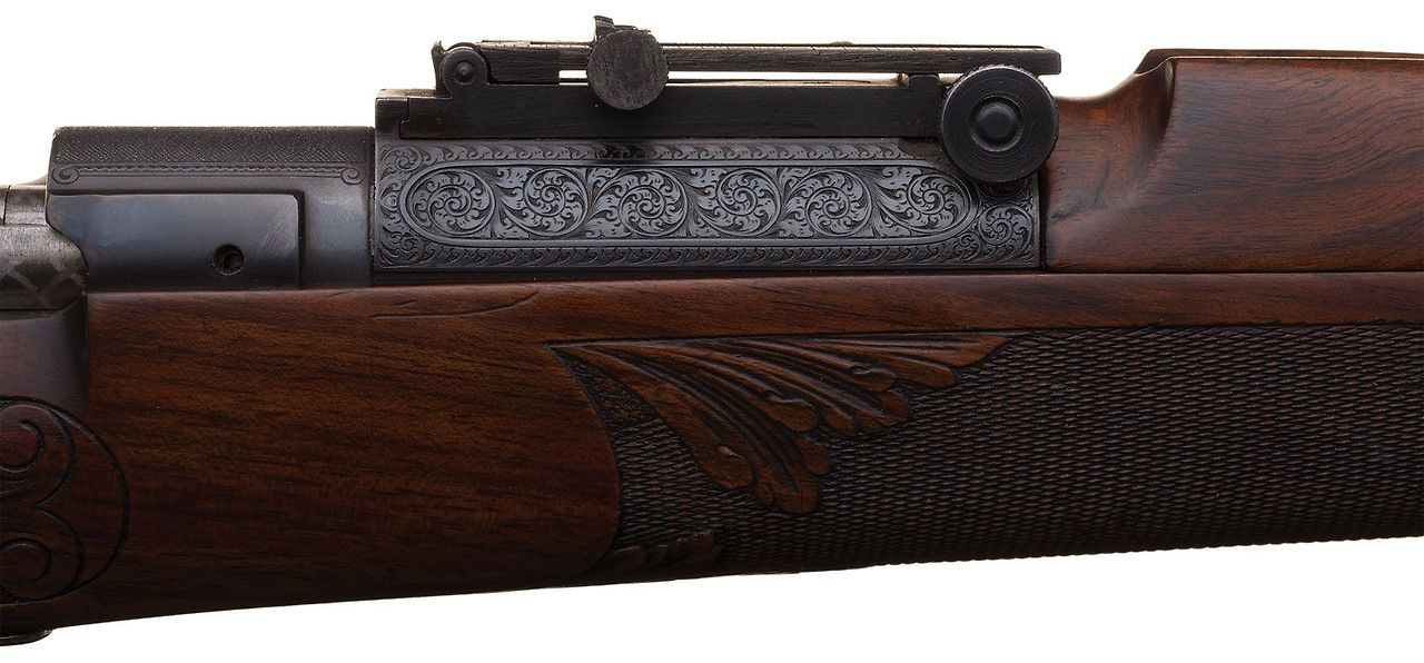Exhibition Quality Rudolph Kornbrath Deluxe Engraved Griffin & Howe Springfield Model 1903 National Match Bolt Action Rifle with Matching Engraved Model 1905 Bayonet 5