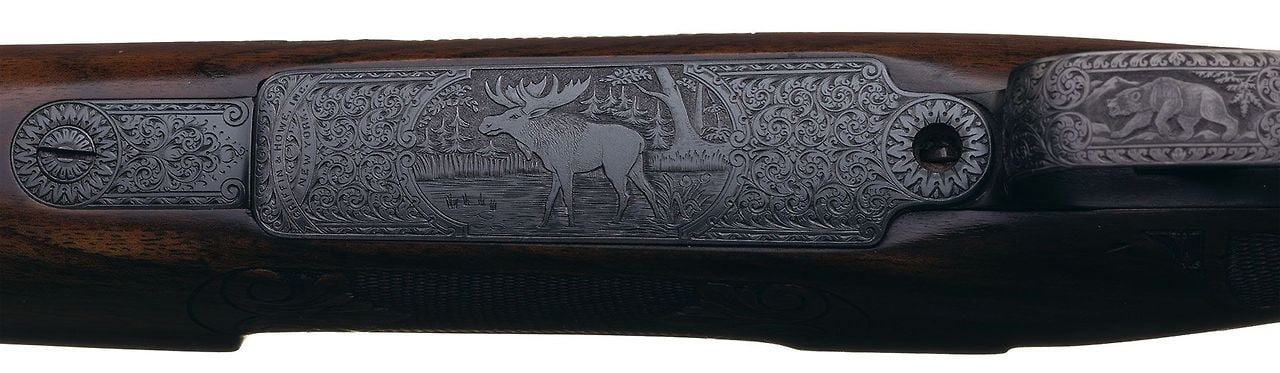 Exhibition Quality Rudolph Kornbrath Deluxe Engraved Griffin & Howe Springfield Model 1903 National Match Bolt Action Rifle with Matching Engraved Model 1905 Bayonet 6