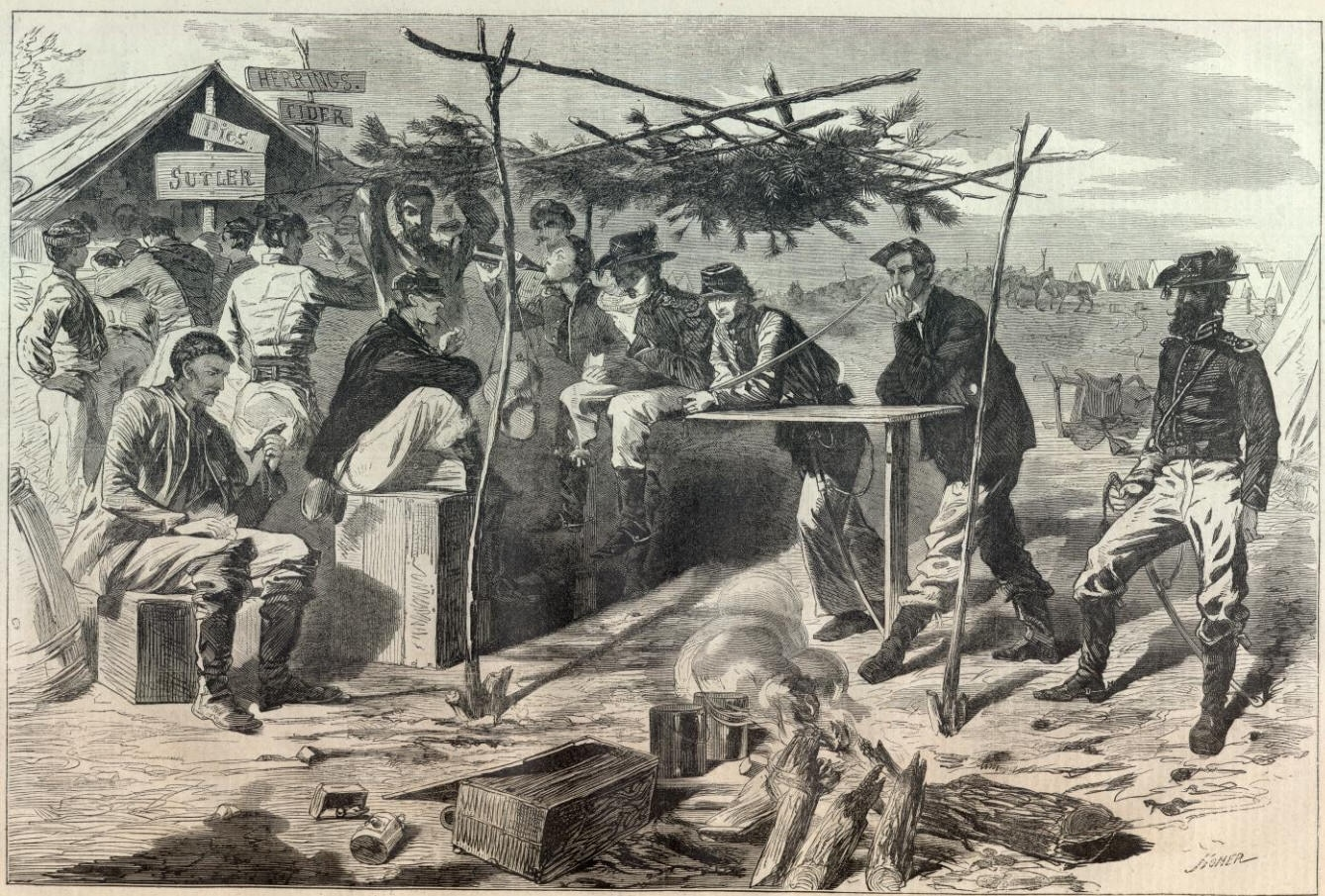 Drawing by combat artist Winslow Homer, showing happy Union soldiers of the 16th Maine Infantry celebrating the Thanksgiving of 1862 during the Civil War. (Photo: Library of Congress)