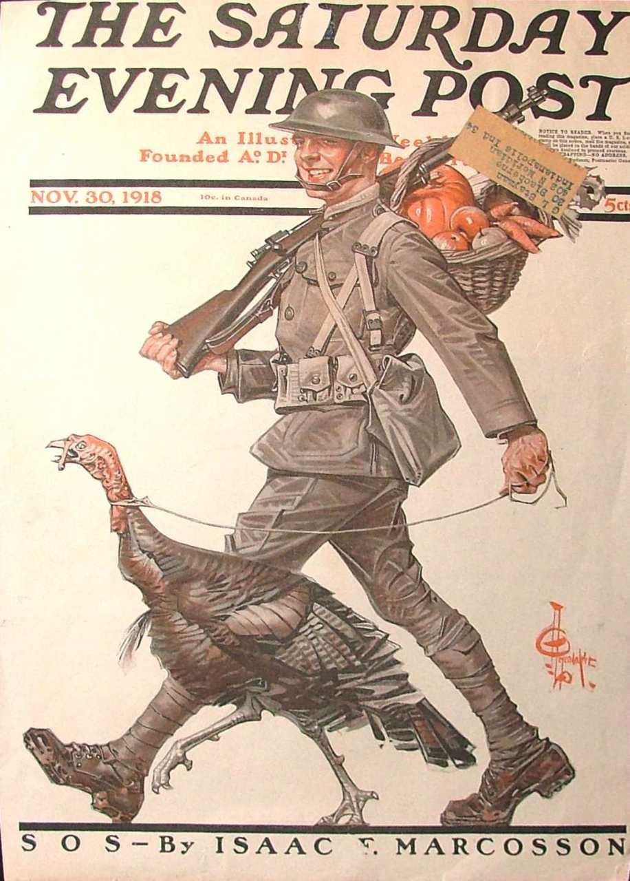 Joseph Christian Leyendecker saturday evening post cover thanksgiving nov 30 1918 doughboy turkey great war 1903 m1917 brodie helmet