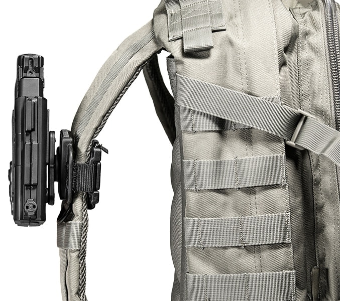The Shift Shell attaches to the backpack allowing easy access to the gun. (Photo: Alien Gear)