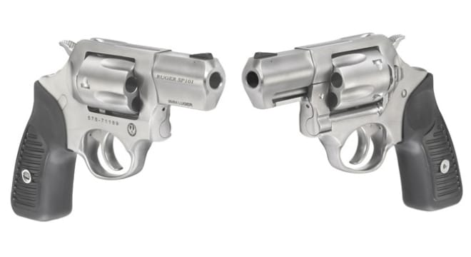Cushioned black rubber grips, a triple-locking cylinder and transfer bar mechanism are carried over from the rest of the SP101 line in a handgun that measures 7.2-inches overall. (Photos: Ruger)