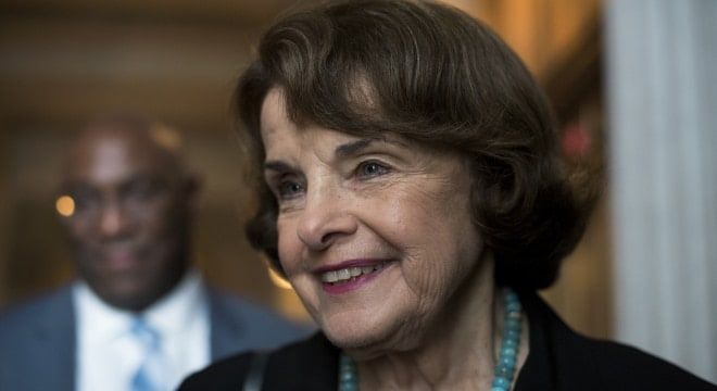 Sen. Dianne Feinstein, D-Calif., talks with a reporter before the Senate Policy luncheons in the Capitol on September 12, 2017. (Photo: Tom Williams/AP)