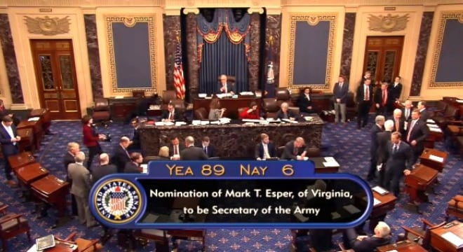 Dr. Mark Esper was confirmed by a vote in the Senate, 89-6, to become the 23rd secretary of the Army shortly after noon on Nov. 15, 2017. (Photo: U.S. Senate)