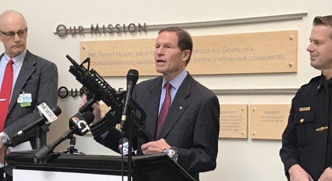 """Until imitation guns are made safer, parents should stop buying them,"" said Sen.Richard Blumenthal last week (Photo: Heather Burian/NBC Connecticut)"