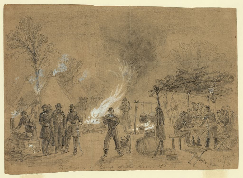 """""""Thanksgiving in camp"""" sketched Thursday 28th November 1861 by Alfred Waud (Photo: Library of Congress)"""