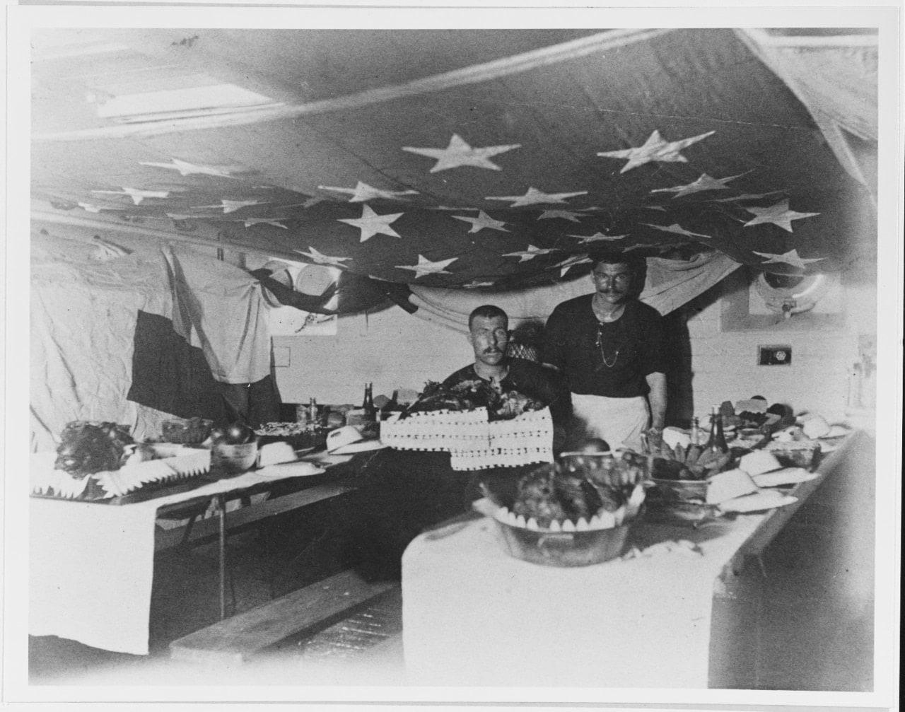 USS Charleston Thanksgiving Day celebrations on board in November 1893, at Rio de Janeiro, Brazil. (Photo: U.S. Navy)