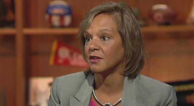 U.S. Rep. Robin Kelly, an Illinois Democrat, is backing a measure to modify the Dickey Amendment, which prohibits the use of funding at the Department of Health and Human Services to advocate gun control. (Photo: WTTW)