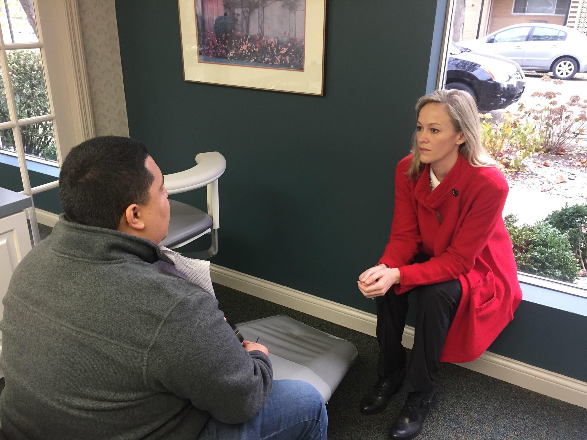 Marilyn Smolenski speaks with Marine Miguel Jimenez, deployed three times, Afghanistan, Yemen, and Japan.(Photo: Marilyn Smolenski via Facebook)