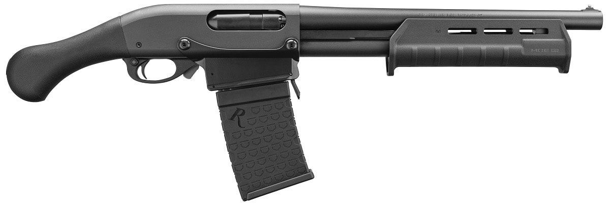 For those who are concerned about the magazine capacity of their Tac-14 Shockwave firearm, the 870 DM variant gives the NFA-compliant 12-gauge a 6-shot detachable box to accent its 14-inch cylinder bore barrel. MSRP is $559.