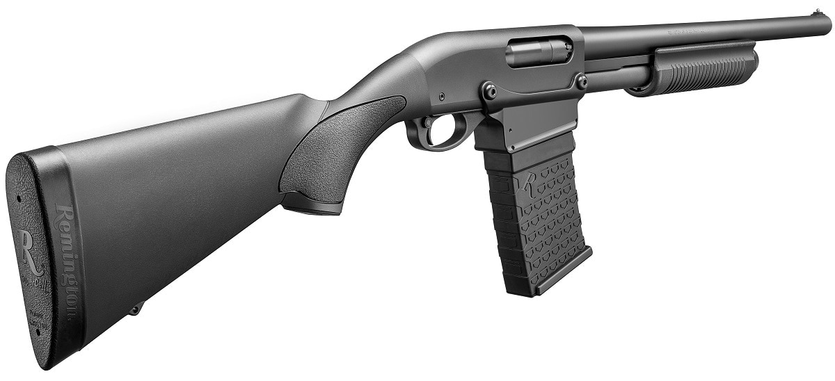 The more sedate 870 DM, priced at $529, comes with a more standard corn cob forend on the slide and a 18.5-inch cylinder bore barrel.