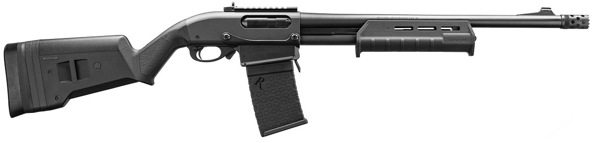 The 870 DM Magpul, the model first to hit the market, includes a Magpul SGA stock and MOE M-Lok forend with a Super Cell recoil pad. The 18.5-inch Rem Choke barrel includes an extended ported tactical choke and is equipped with XS steel front and ghost ring rear sights, the latter mounted on a Picatinny rail section. MSRP is $799.