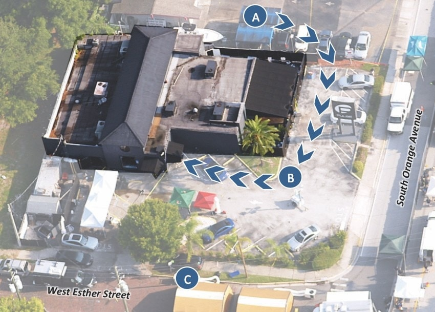 A graphic showing the subject's path (B) into the nightclub from his vehicle and the location of the Orlando Police detective (C) who first returned fire. (Photo: DOJ)