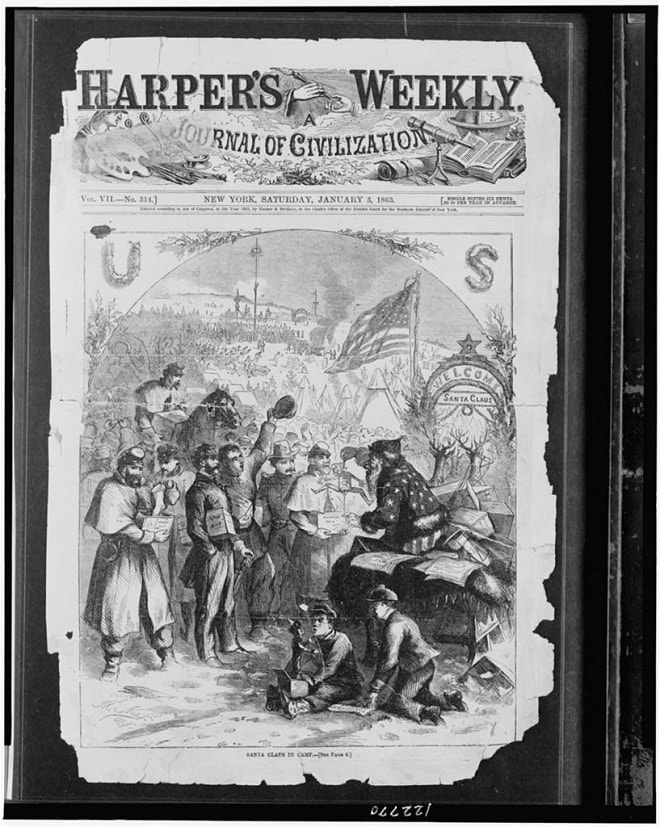 Santa Claus giving gifts to soldiers in camp. Harpers Weekly Jan 1863 (Photo: Library of Congress)