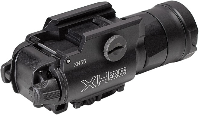 The new XH35 toggles between 1,000 lumens and 300 lumens as well as from continuous to strobe light modes and has similar rear-mounted switches to the legacy X300U and X400U series. (Photo: SureFire)