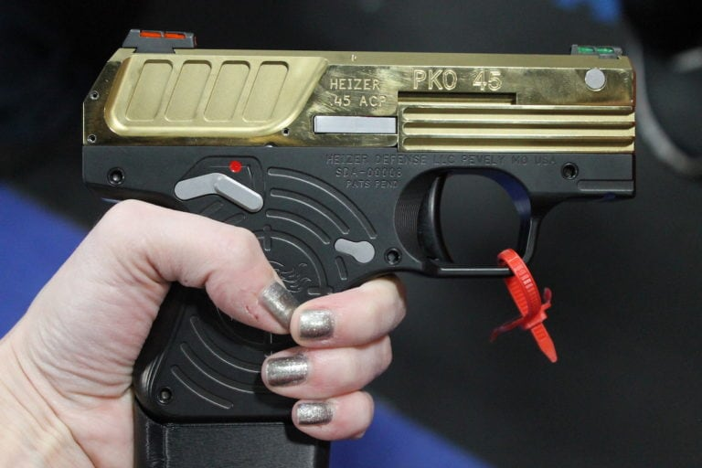 The Titanium version of the PKO-45 with an extended magazine. (Photo: Jacki Billings/Guns.com)