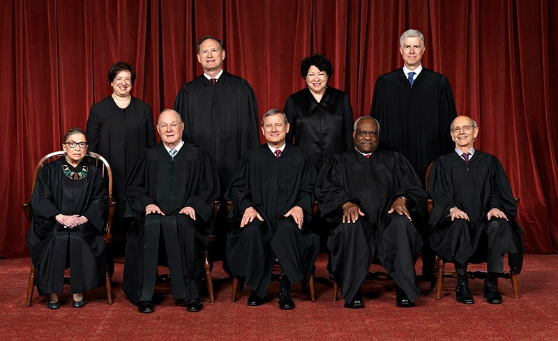 The justices of the Supreme Court gather for an official group portrait to include new Associate Justice Neil Gorsuch, top row, far right, on June 1, 2017 at the Supreme Court Building in Washington. (Photo: Franz Jantzen/U.S. Supreme Court)
