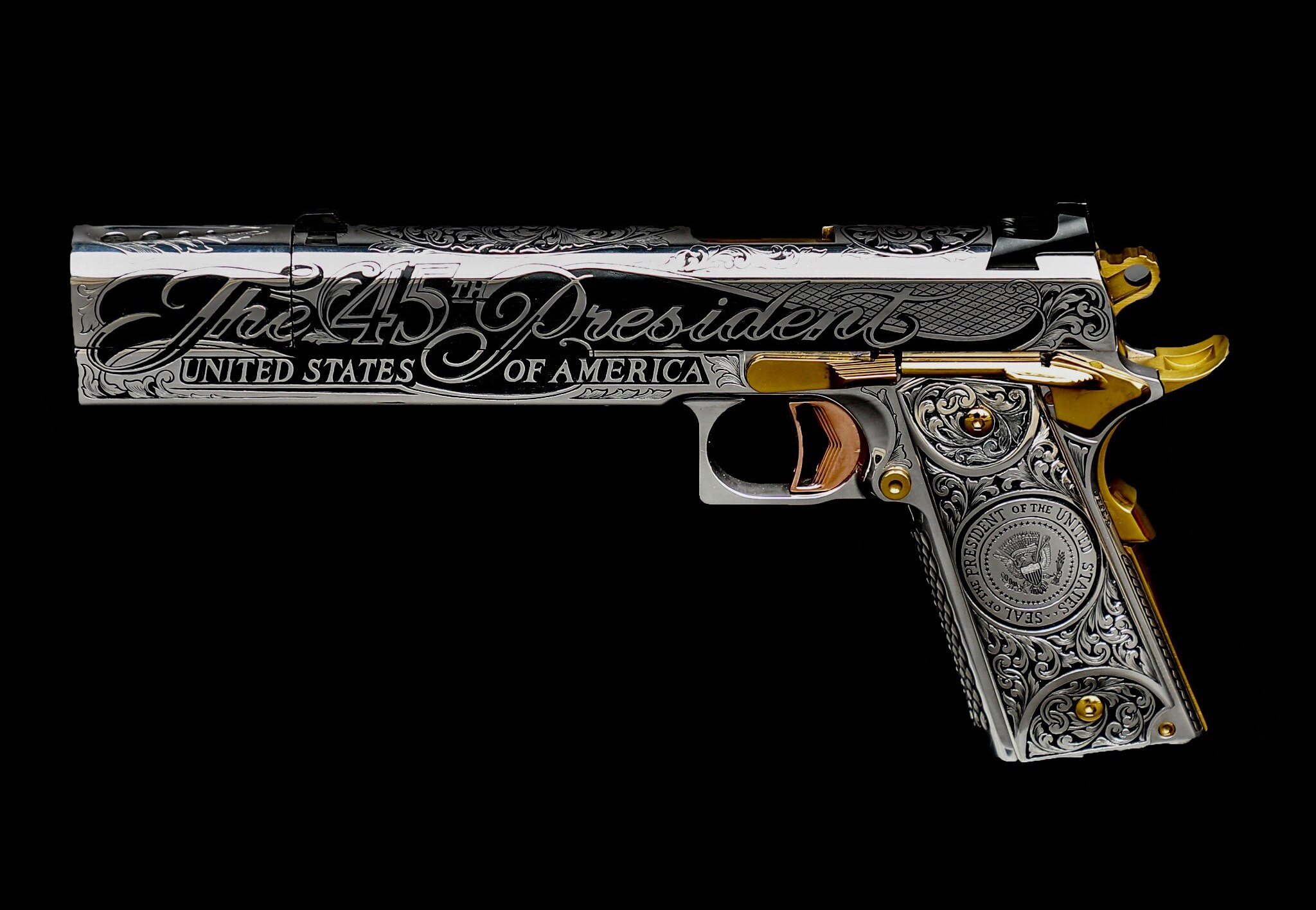 The custom-made Donald Trump Gun by Jesse James. (Photo: Jesse James Firearms Unlimited)