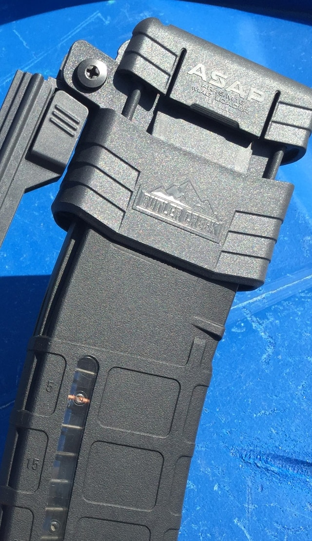 Officially, it's Butler Creek's ASAP AR-15 and M16 magazine loader. (Photo: Team HB)