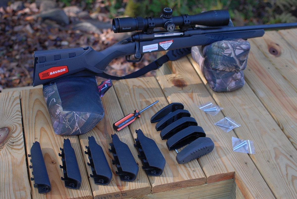 The Model 110 alongside AccuFit accessories. (Photo: Savage Arms)