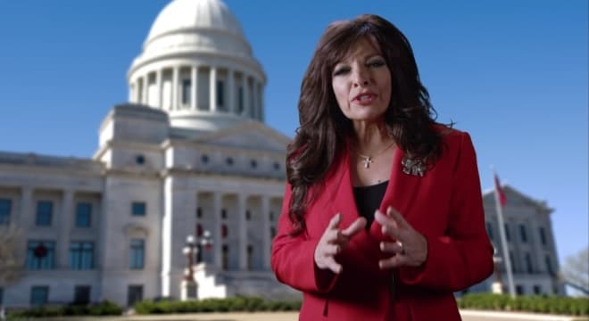 Morgan touched on gun rights in her 11-minute video announcement, directly calling out Hutchinson over his stance on constitutional or permitless carry in Arkansas.