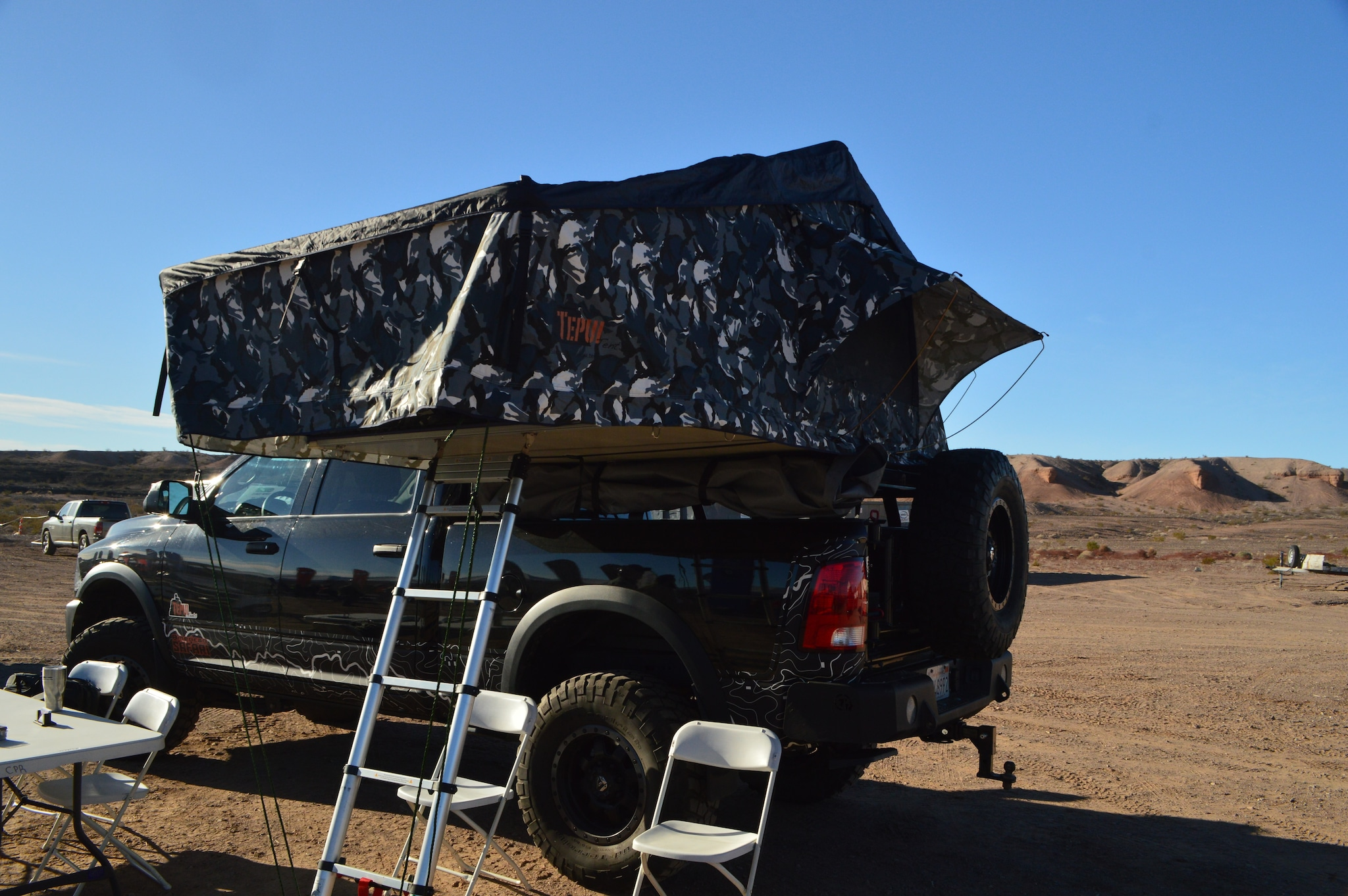 Tepui's Rooftop Tent system appeals to adventurous hunters who enjoy quick spike camps in remote locations. The King sized model shown here easily holds 2-3 hunters plus gear, and quickly folds down flat for traveling. (Photo: Kristin Alberts/Guns.com)