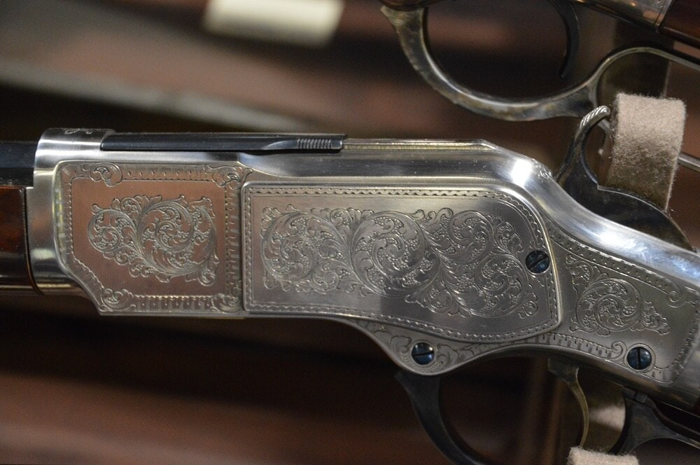 """Cimmaron Firearms had a host of Cowboy lever actions and single action revolvers on display that approached the upper end of what could be called """"nice."""" (Photos: Chris Eger/Guns.com)"""