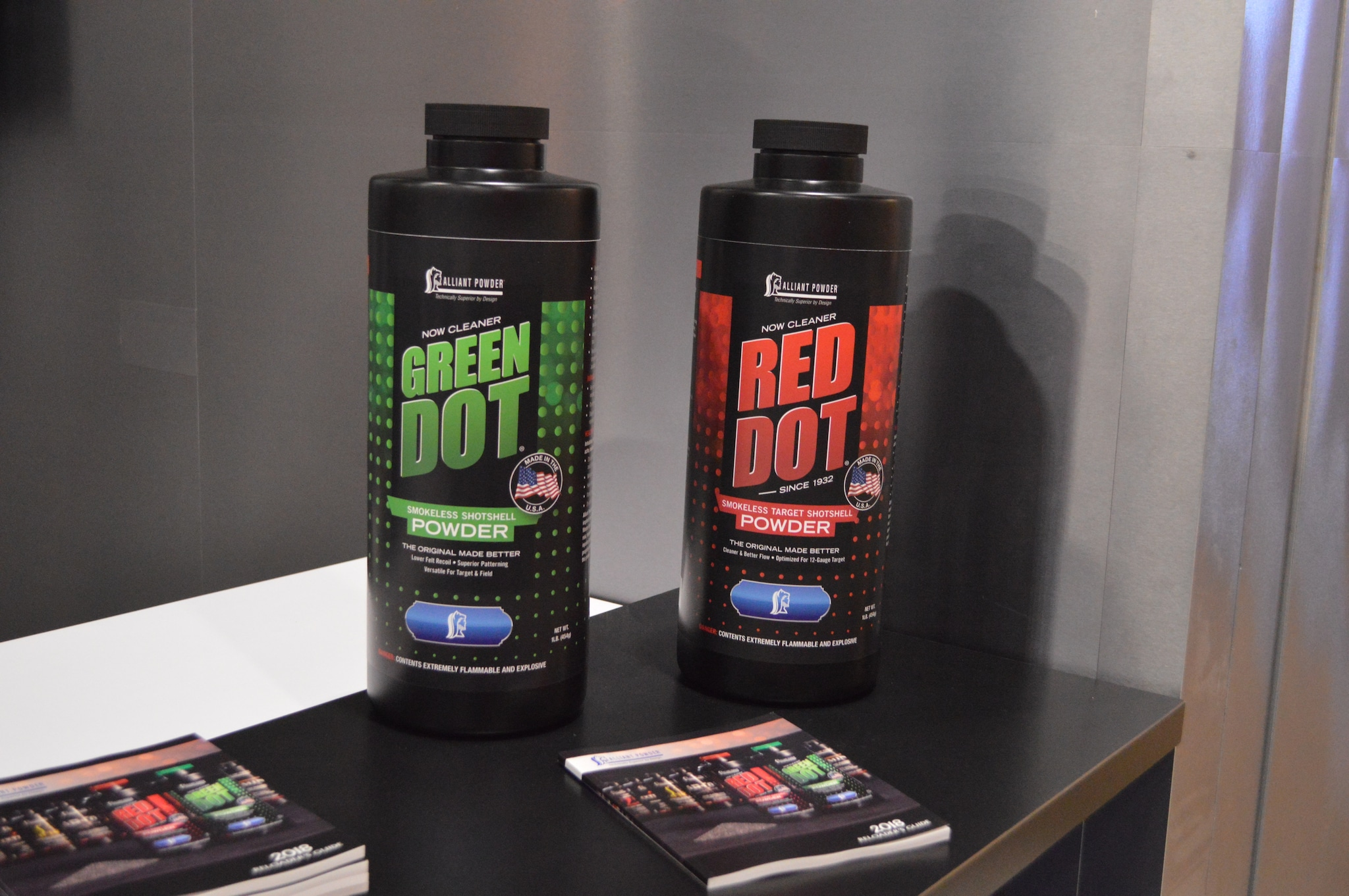 Two of Alliant's most popular powders just got even better. The new and improved Green Dot and Red Dot are now formulated to burn much cleaner. Best of all, load data remains the same. (Photo: Kristin Alberts/Guns.com)
