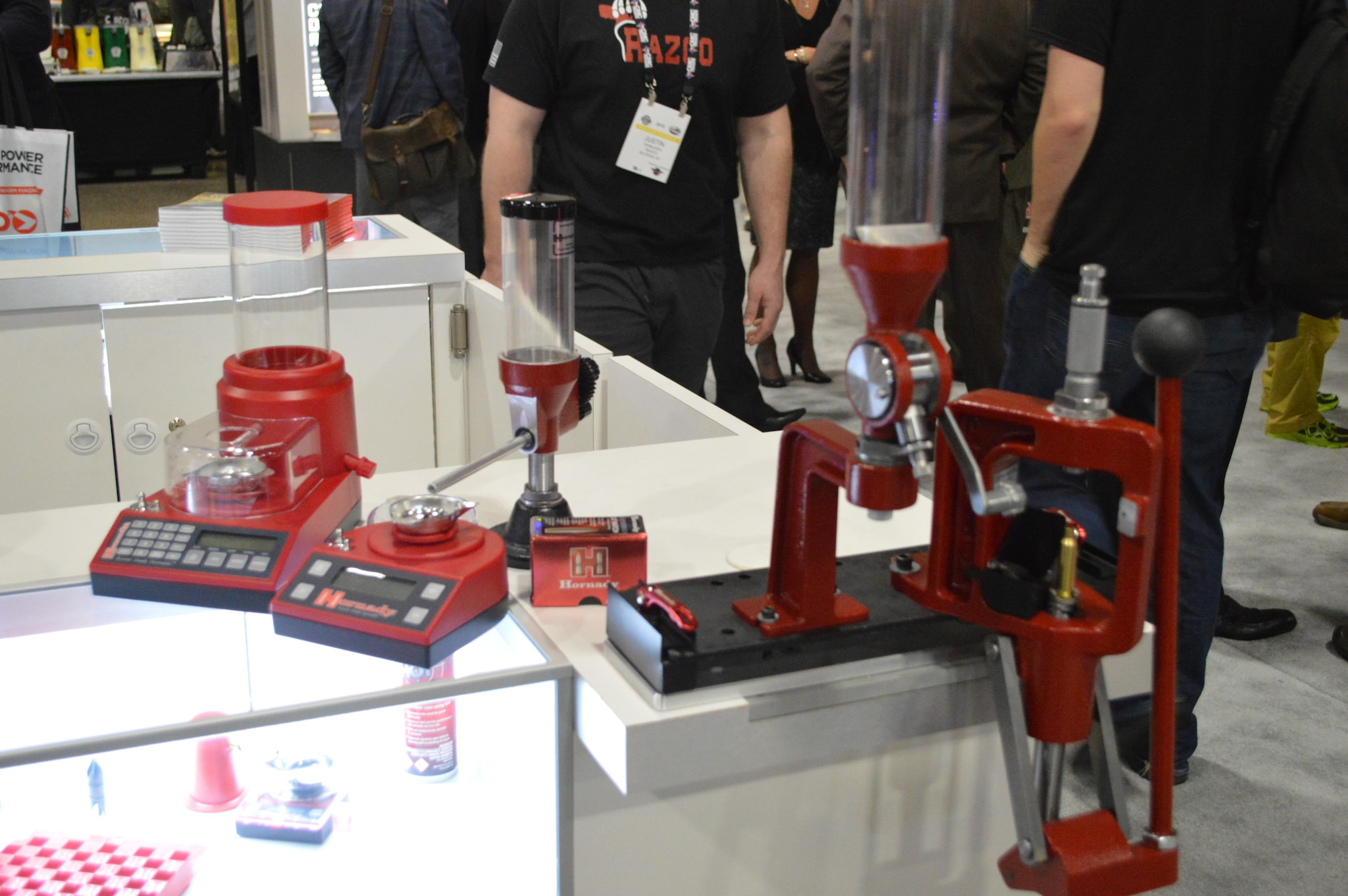Hornady expanded its collection of big red reloading gear at SHOT with a new, portable, battery operated Vibratory Trickler, Rotary Tumbler, and Rotary Media Sifter. (Photo: Kristin Alberts/Guns.com)