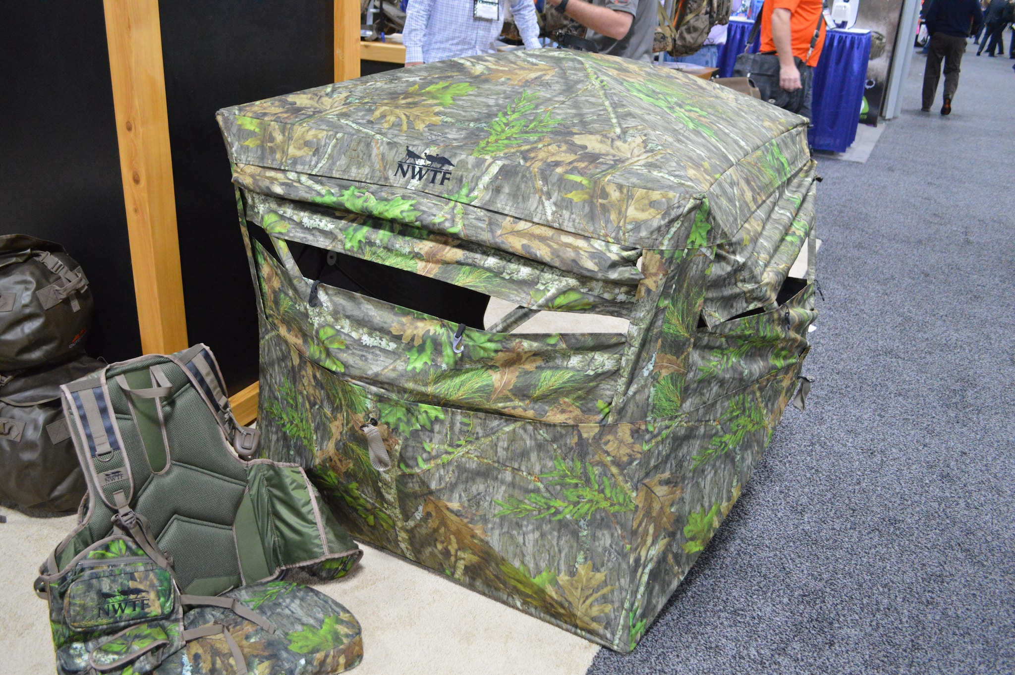 The ultra-compact Alps Outdoorz/NWTF Deception ground blind is the first in its class of low-profile blinds made for the hunter who likes to run-and-gun. Sitting in either a low chair or in one of the company's vests puts the shooter at the perfect height in this blind, which has a center height of less than four feet and packs down small enough to fit in a vest pocket. (Photo: Kristin Alberts/Guns.com)