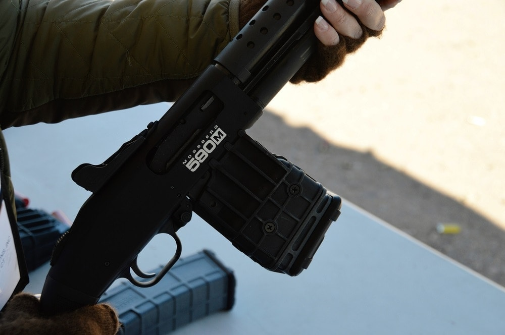 The 5-round magazine is a tad over 5-inches high and weighs just under a pound.