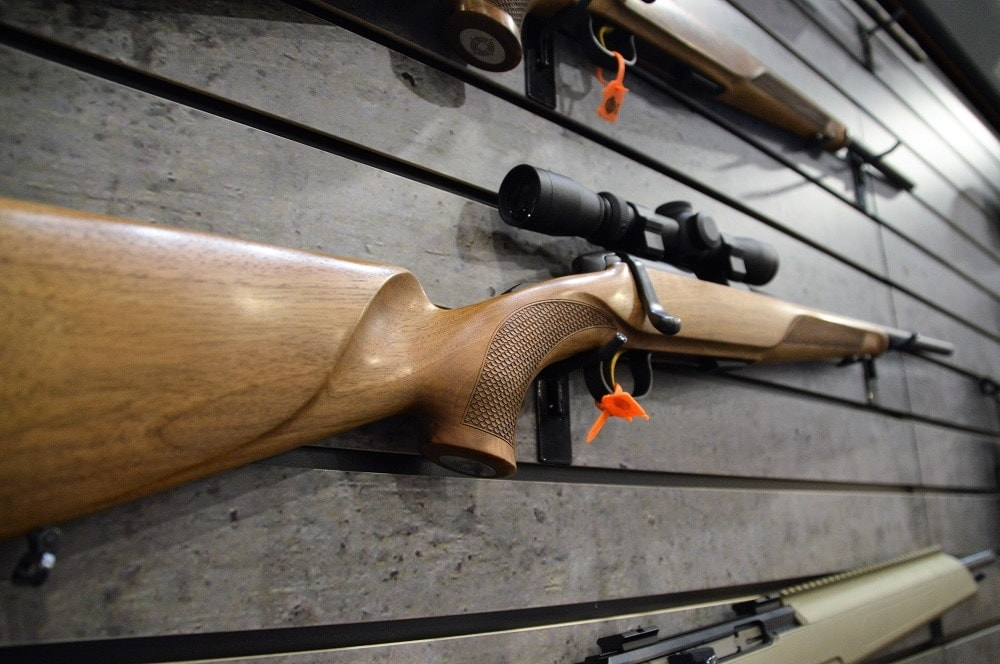 The eye-catching new Steyr Mannlicher rimfire is readily identifiable by its walnut stock complete with a Bavarian cheek. (Photos: Chris Eger/Guns.com)