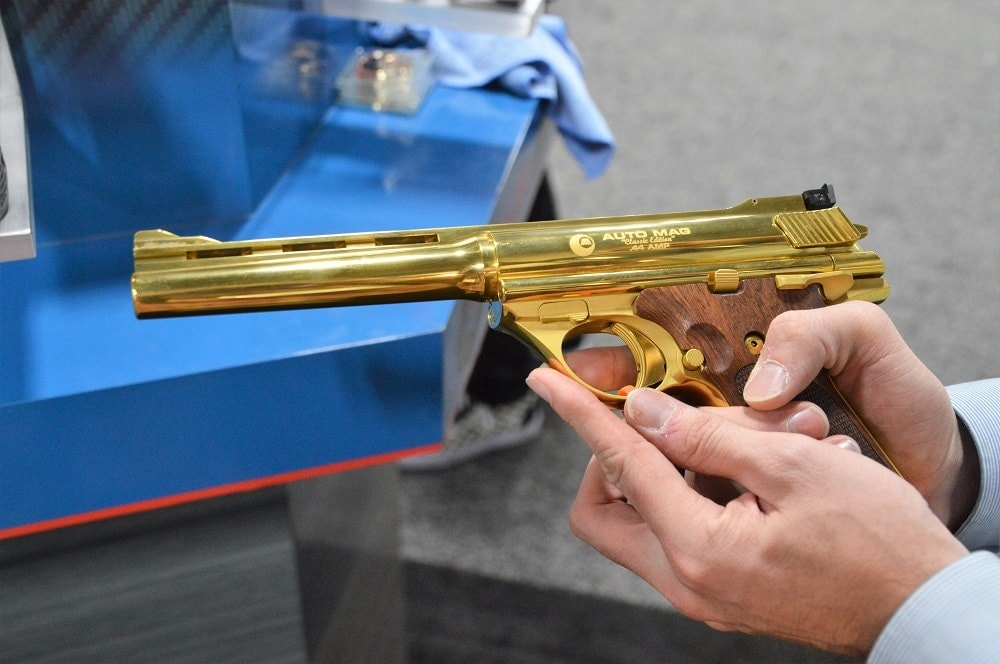 Though more sedate Auto Mag Classic series pistols are shipping, there is one exhibition model in circulation with a bit more pizazz. (Photos: Chris Eger/Guns.com)