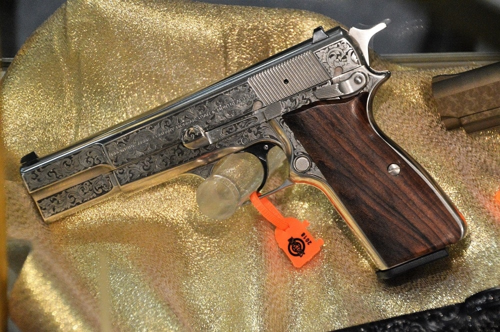 Baron custom engraving shop in Trumbull, Conn. can make almost anything look good, and they had this immaculate FN Hi Power on display at Shot Show recently (Photo: Chris Eger/Guns.com)