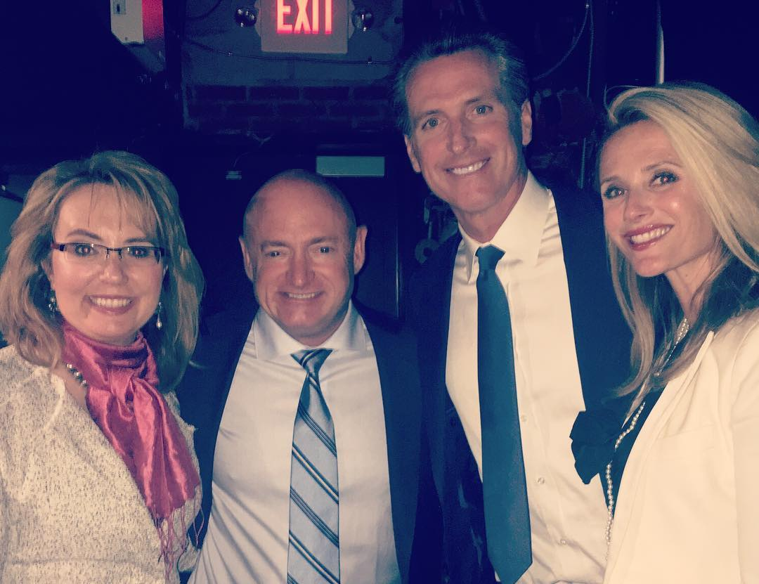 California Lt. Gov. Gavin Newsom, seen in a 2016 photo with former U.S. Rep. Gabrielle Giffords and Mark Kelly, who recently endorsed him for governor based on his gun control record. (Photo: Gavin Newsom's office)