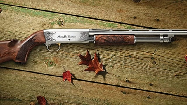 ithaca model 37 featherlight sitting on a wood deck outdoors