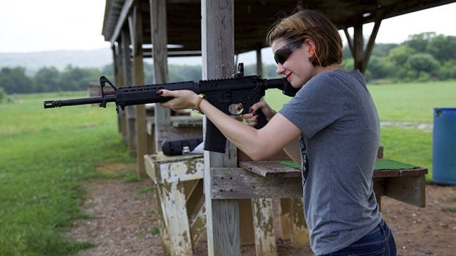 Shooting in a standing position is comfortable even when arm muscles are lacking. (Photo: Jacki Billings)