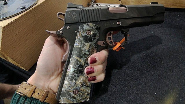 Featuring obsidian, abalone, and zinc grips the Ladyhawk comes chambered in 9mm or .45 ACP (Photo: Jacki Billings)
